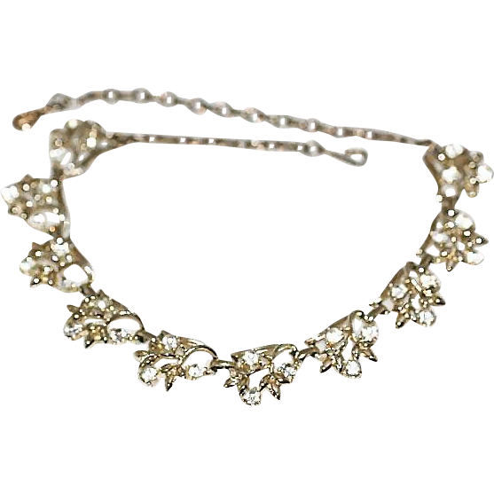 Vintage Coro Clear AB Rhinestone Floral Choker Necklace