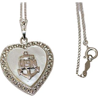 Vintage Theda Sterling Silver Mother of Pearl and Marcasite USN Heart Pendant Necklace