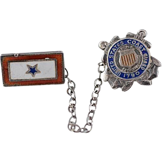 Vintage WWI/II USCG Coast Guard and Son in Service Chain Pin Set