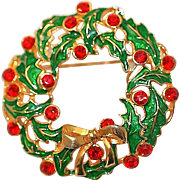 Eisenberg Ice Christmas Brooch Pin with Rhinestones, Enamel and Golden Bow