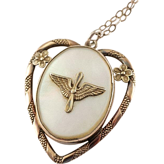 1940's WW2 Era Army Air Corps AAC Military Sweetheart Gold Filled Locket Pendant Necklace from The Providence Stock Company
