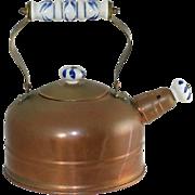 Vintage Whistling Copper Tea Kettle with Porcelain Delft Folding Brass Handle & Knobs
