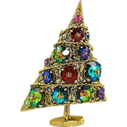 1960's Weiss Asymmetrical Christmas Tree Pin with Margarita Rhinestones in Antiqued Gold Tone