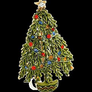 Green Enamel Christmas Tree Brooch  Pin with Multicolored Rhinestones Garland  Signed Art