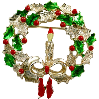 Vintage Gerrys Christmas Wreath Candle Pin Brooch with Red and Green Enamel