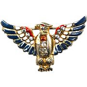 Vintage World War 2 Coro Sterling Vermeil Patriotic Eagle Brooch Pin with Red, White, and Blue Enamel and Rhinestones