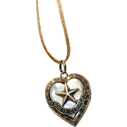 WW2 Son In Service Heart Locket Pendant with Mother of Pearl On A Gold Filled Chain Necklace