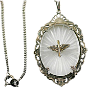 Vintage WW2 Army Air Corp Sterling Silver and Camphor Glass Pendant Necklace