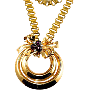 Vintage Coro Pendant with Purple and Clear Rhinestones and Bookchain Style Necklace