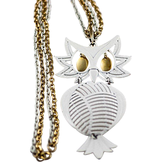 Large White and Gold Tone Articulated Owl Pendant Necklace with Double Chains Signed Alan