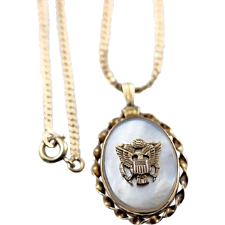 Vintage WW 2 Army Military Eagle Sweetheart Locket Pendant and Chain Necklace Gold Filled