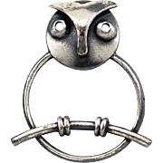 Vintage Modernist Owl on a Branch Pin Brooch