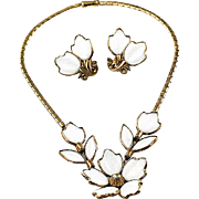 Vintage Trifari 1950's Alfred Philippe Fashion Blossoms Poured Molded Glass Floral Necklace and Earring Set / Demi Parure ~Shorter length