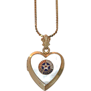 United States Army Air Corps Military Sweetheart Locket Necklace~Gold filled with Mother of Pearl and Enamel AAC Son In Service Air Force