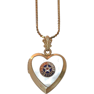 United States Army Air Corps Military Sweetheart Locket Necklace~Gold filled with Mother of Pearl and Enamel