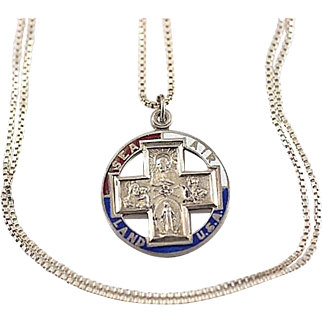 Vintage WW2 Sterling Silver and Enamel Military Catholic Slider Medal Pendant Necklace~ Patriotic/Religious