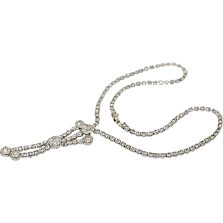 Vintage Clear Rhinestone Necklace with Chaton Drop