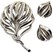 Vintage Trifari Silver Tone Brooch and Earrings Set~Demi Parure