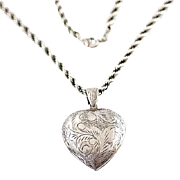 Vintage Sterling Silver Large Etched Puffy Heart Locket Pendant Necklace