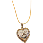 WW2 Gold Filled Brother In Service Heart Locket Pendant with 14 Kt Gold Filled Chain Necklace
