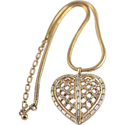 1953 Trifari Captive Heart Baguette Pendant on Snake Necklace