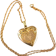 "Vintage Etched Heart Double Photo Locket Pendant and 18"" GF Rope Chain Necklace"