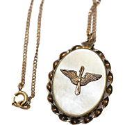 1940's United States Army Air Corps Military Sweetheart Locket Necklace~Gold filled with Mother of Pearl and  AAC Winged Propeller Air Force