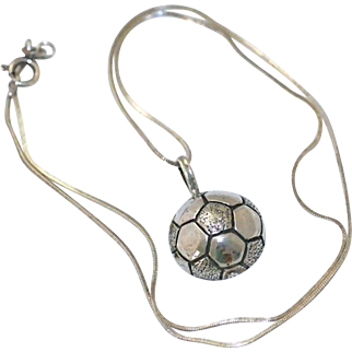 Vintage Sterling Silver Soccer Ball Pendant and Snake Chain Necklace