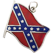 Vintage Sterling Silver and Enamel Confederate Flag  Charm