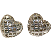 Vintage Shadowbox or Caged Style Silver Heart Earrings~Pierced