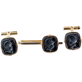 Vintage Carved Hematite Centurion or Gladiator Men's Cufflinks and Tie Clip Set Gold Filled Signed BAB for B. A. Ballou