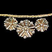 Vintage 1949 Trifari Snowflake Book Piece Rhinestone Demi Parure Set ~ Earrings, Brooch/Pin/Pendant, and Chain Necklace