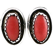 Vintage Southwest Style Faux ? Coral Clip Earrings