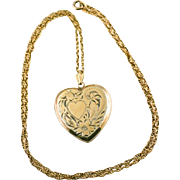 "Vintage Etched Heart Double Photo Locket Pendant and 19"" Chain Necklace"