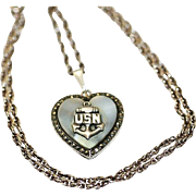 Sterling Silver THEDA USN United States Navy Military Locket with Marcasites and Mother of Pearl Necklace