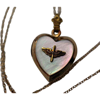 WW2 Era US Army Air Corps Military Sweetheart  Mother of Pearl Locket Pendant and Gold Filled Chain Necklace AAC