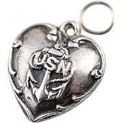 Sterling Silver USN Scrolled Puffy Heart Charm US Navy
