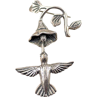 Vintage Molina Mexico Sterling Silver Hummingbird and Flower Trembler Brooch Pin