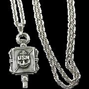Sterling WWII USN Pendant Key US Navy Necklace