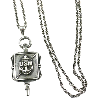 Sterling WWII USN Pendant Key US Navy Necklace