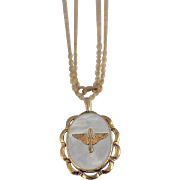 WW2 Era US Army Air Corps Military Sweetheart Gold Filled Mother of Pearl Locket Pendant and Chain Necklace AAC