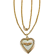 Vintage WW2 Era Winged Shield Air Corps Gold Filled Heart Locket and Chain Necklace