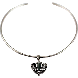 Sterling Silver Choker Ring and Jet Pendant Necklace