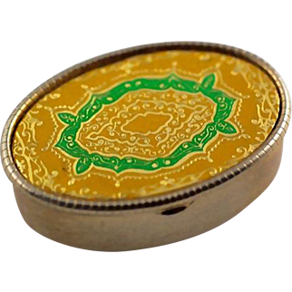 Vintage Etched Gold and Green Enamel Top Oval Pill Box