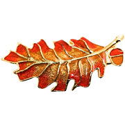 Fun Fall Autumn Colors Guilloche Enamel Leaf and Acorn Brooch Pin