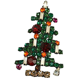 Vintage Large Weiss 6 Candle Christmas Tree Brooch~ Book Piece 1963