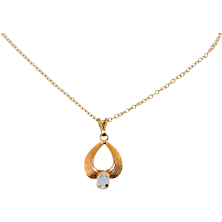 Vintage 14 & 1/2 Inches Length Gold Filled Faux Opal Pendant and Chain Necklace For Doll or Petites