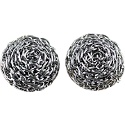 Vintage Wire Swirl Clip Earrings Silver Tone