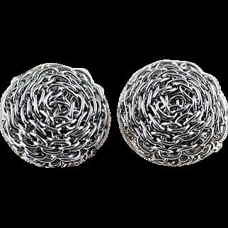 Vintage Wire Swirl Clip Earrings Silver Tone