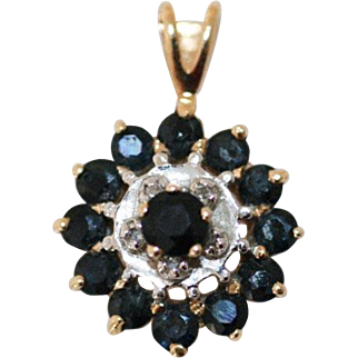 1970's Sapphire and Diamond Round Pendant 14 Kt